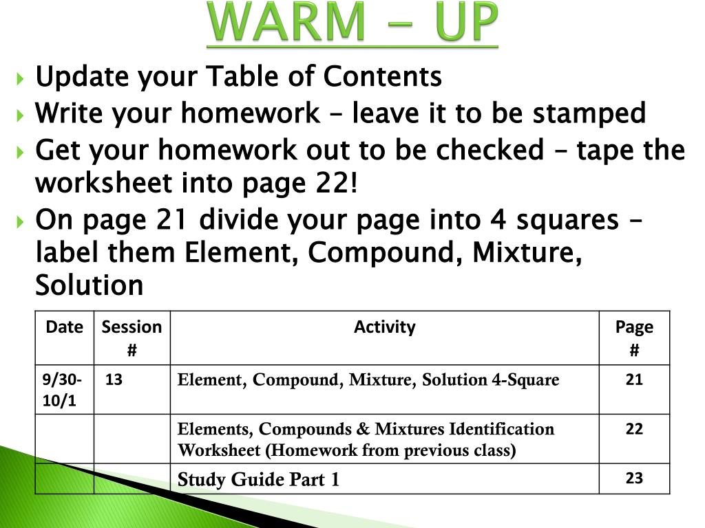 8th Grade Elements Compounds And Mixtures Worksheet