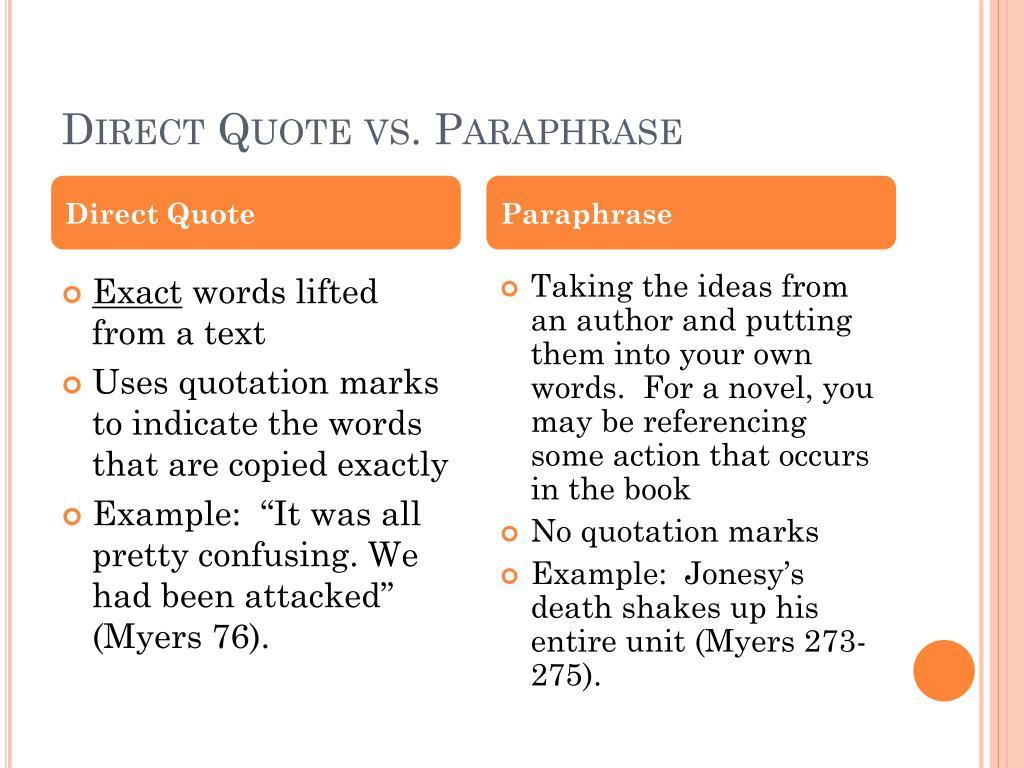 Paraphrasing Powerpoint High School Teaching High