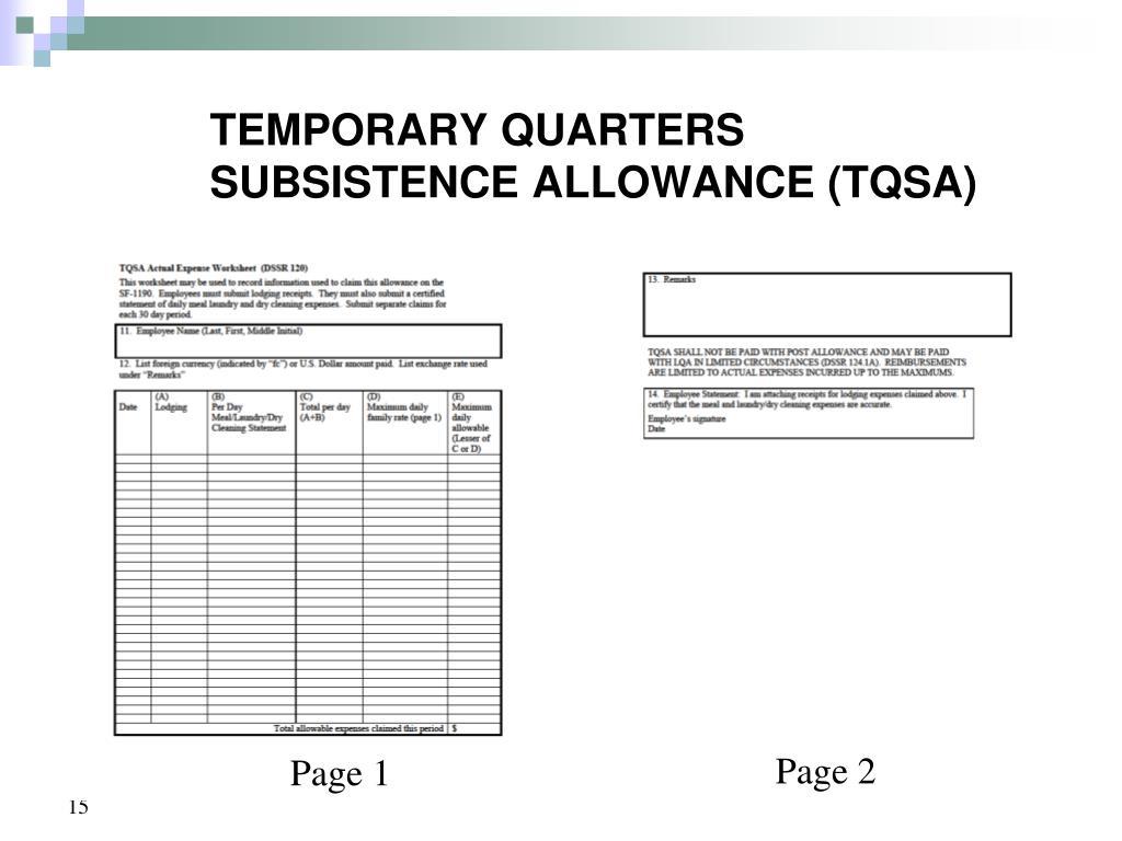 Temporary Quarters Subsistence Allowance Worksheet