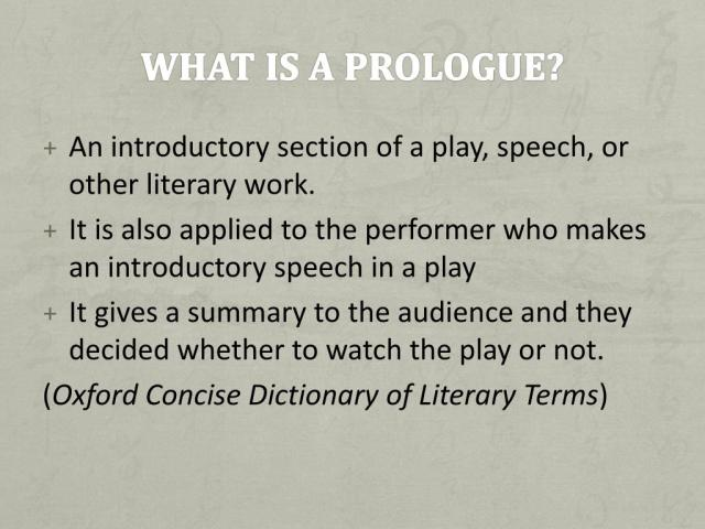 PPT - What is a prologue? PowerPoint Presentation, free download