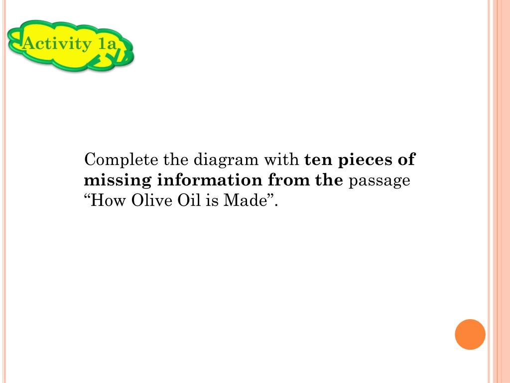 hight resolution of activity 1a complete the diagram with ten pieces of missing information from the passage how olive oil is made