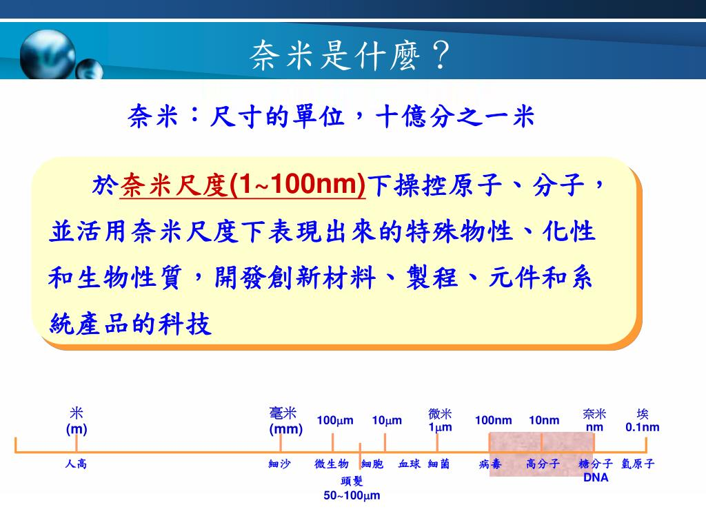 PPT - 科技的發展與工業革命 奈米出現了! 奈米是什麼? 奈米科技發展之重要歷程 PowerPoint Presentation - ID:1941570
