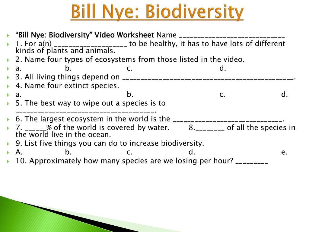 Bill Nye Biodiversity Worksheet Answers