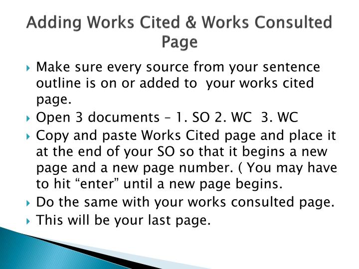 what is a work cited page