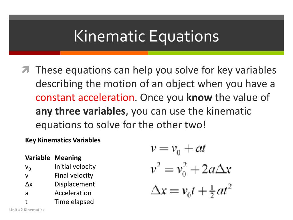 PPT - Kinematics – Kinematic Equations PowerPoint Presentation. free download - ID:2027396