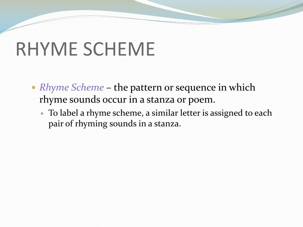 34 Label The Rhyme Scheme Of The Poem Beginning With A
