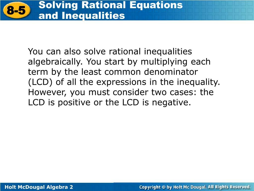 Holt Mcdougal Algebra 2 Solving Rational Equations And