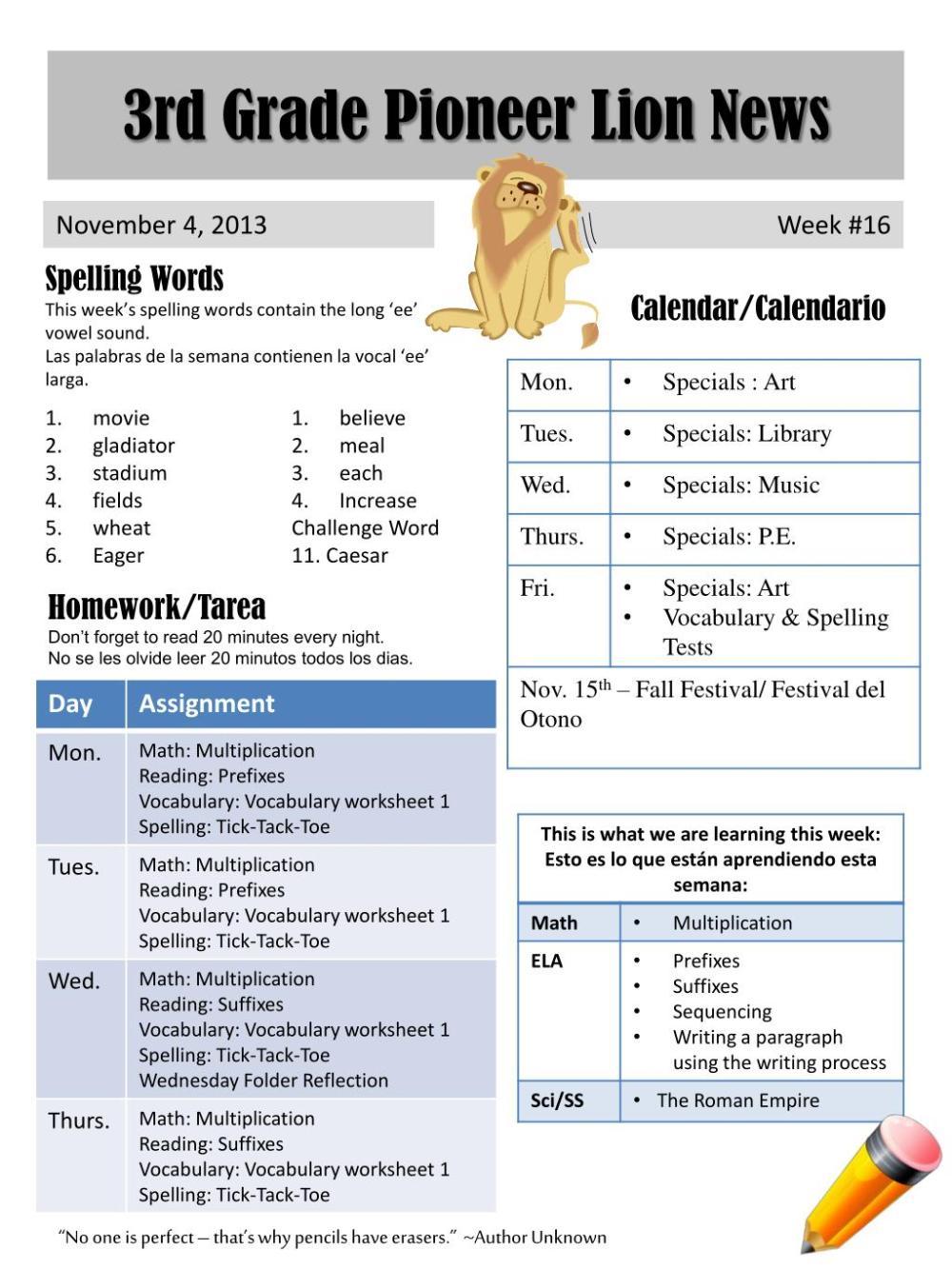 medium resolution of PPT - 3rd Grade Pioneer Lion News PowerPoint Presentation