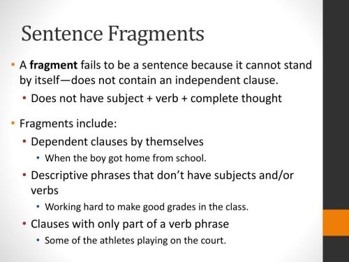 small resolution of sentence fragments - Cprc