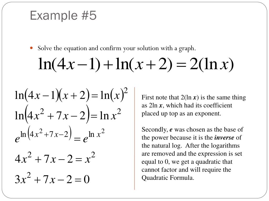 Solving Exponential And Logarithmic Equations Examples