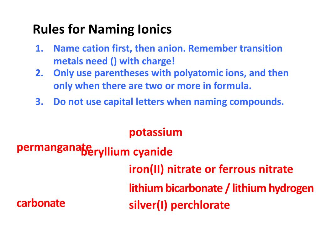 Formulas And Nomenclature Binary Ionic Transition Metals
