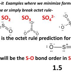 minimize formal charge or simply break octet rule a so2 so3 so42 what is the octet rule prediction for so2 what will be the s o bond order in so42  [ 1024 x 768 Pixel ]
