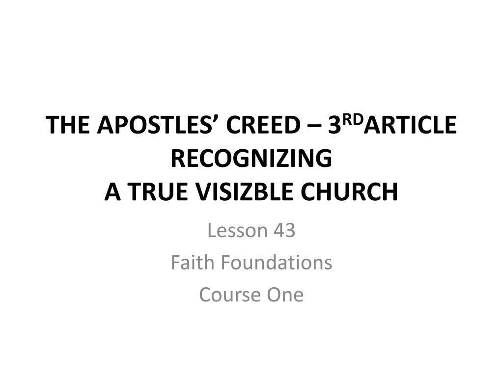 PPT - THE APOSTLES' CREED