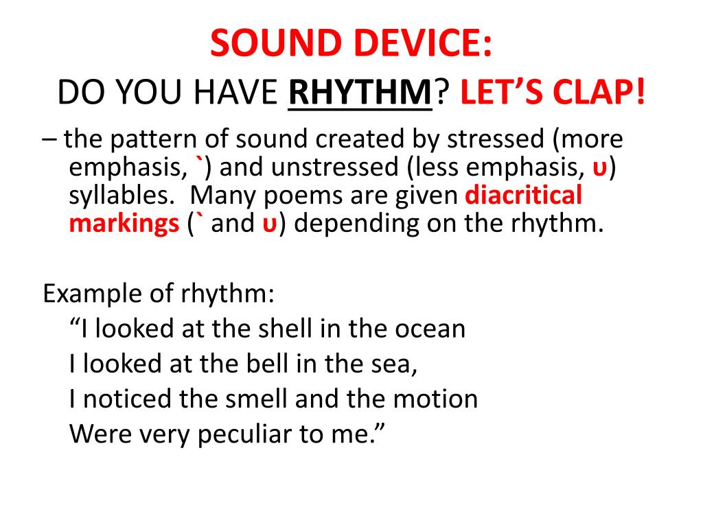 Sound Devices In Poetry Examples