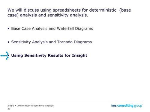 small resolution of we will discuss using spreadsheets for deterministic base case analysis