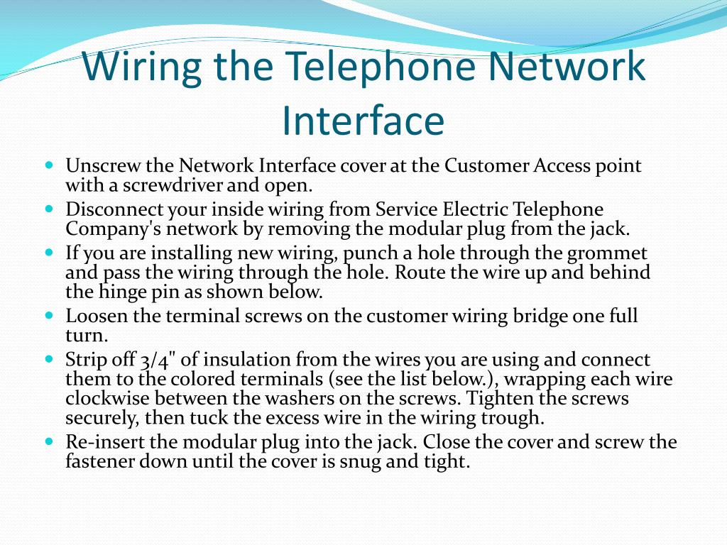 hight resolution of main telephone network interface wiring