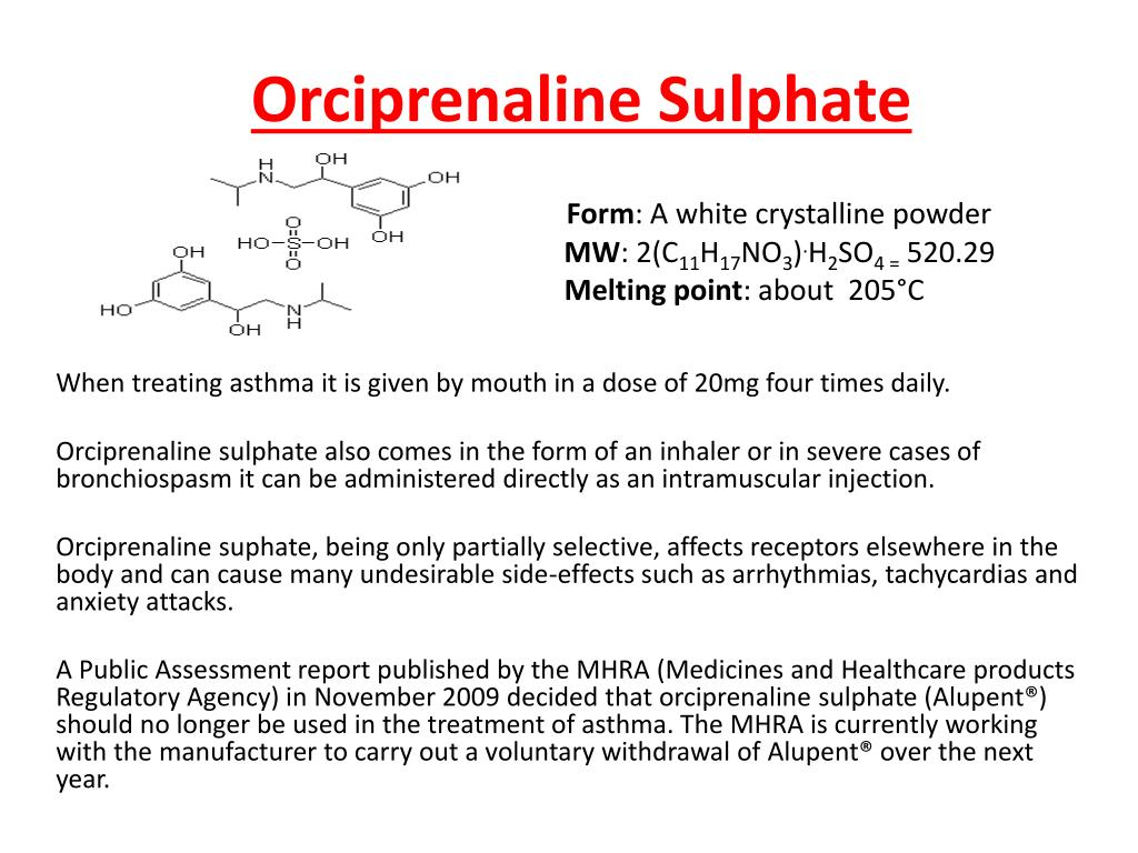 PPT - Orciprenaline Sulphate PowerPoint Presentation free ...