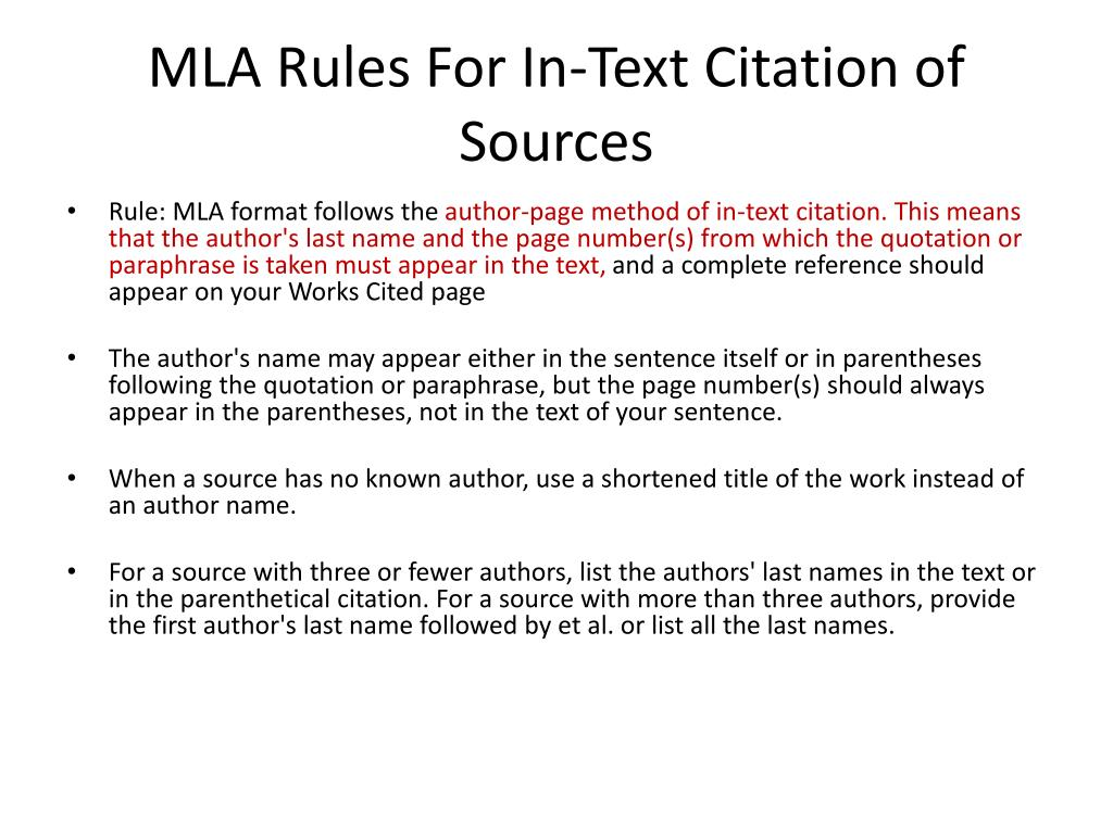Mla In Text Citation Without Page Number