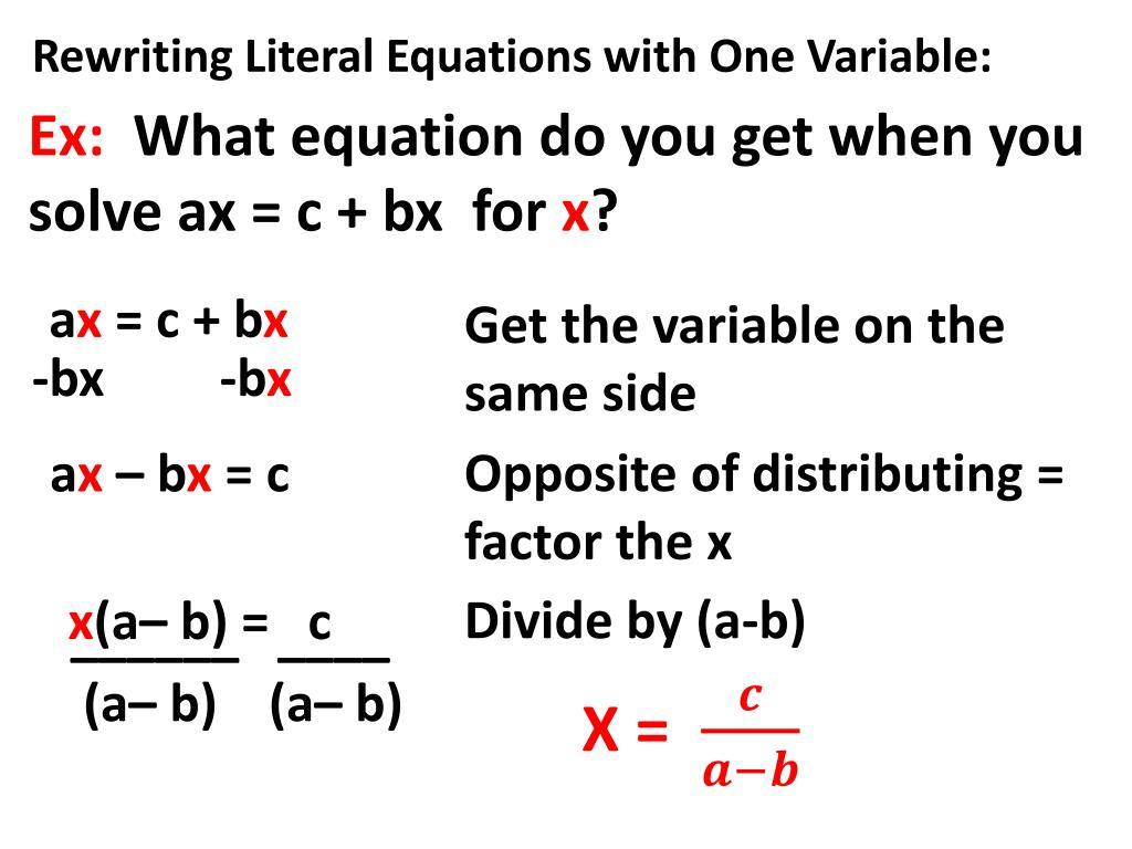 Rewriting Literal Equations Khan Academy