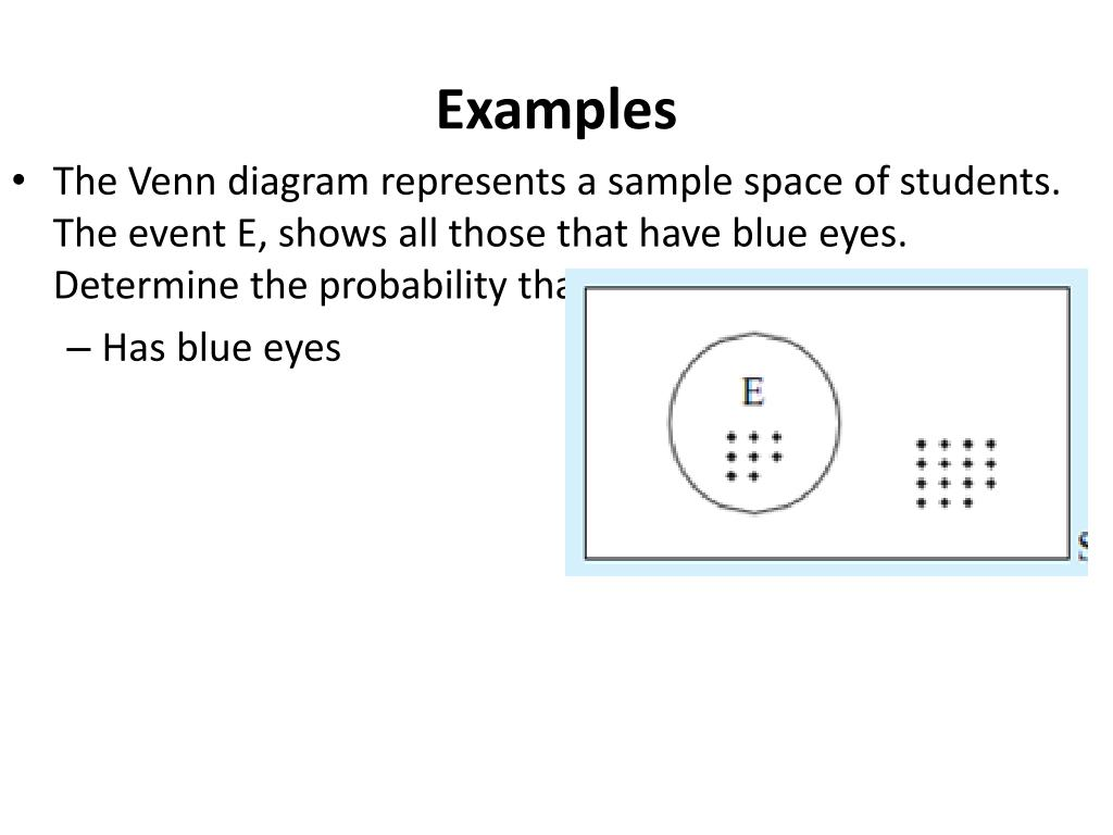 hight resolution of examples the venn diagram represents a sample space of students the event e shows all those that have blue eyes determine the probability that a