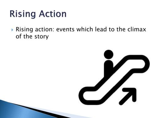 small resolution of rising action rising action events which lead to the climax of the story