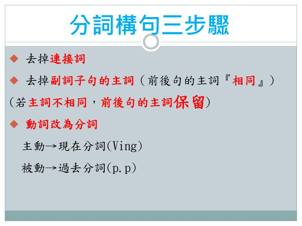 PPT - 分詞構 句 ( Participial Construction ) PowerPoint Presentation - ID:2620592