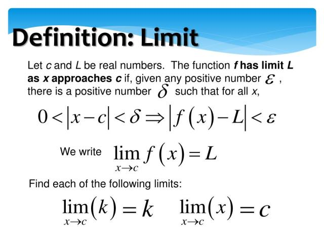 PPT - Definition of Limit, Properties of Limits PowerPoint