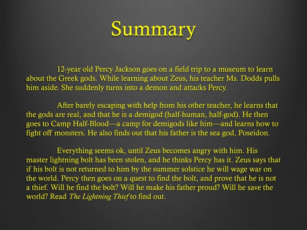 Percy Jackson And The Olympians Lightning Thief Book Summary