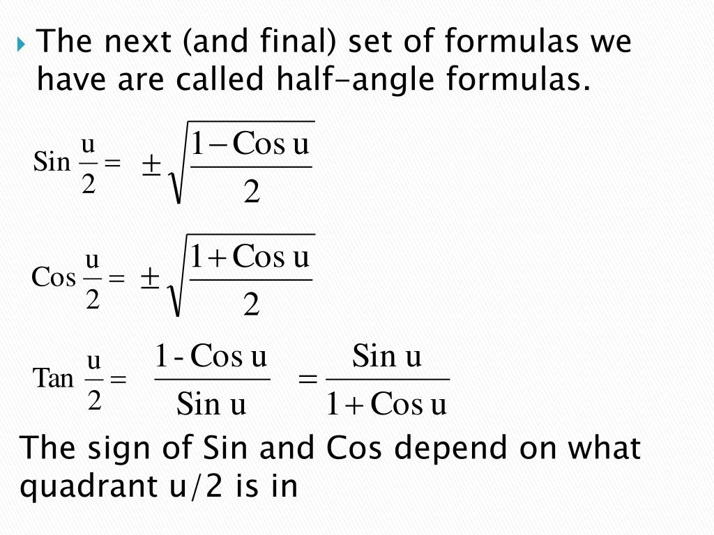 PPT - Double-Angle and Half-Angle Formulas PowerPoint Presentation - ID:2779384