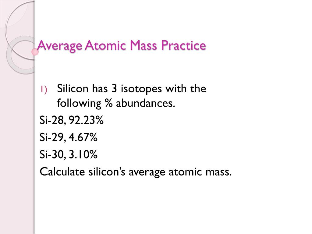 Isotopes And Average Atomic Mass Worksheet Answers