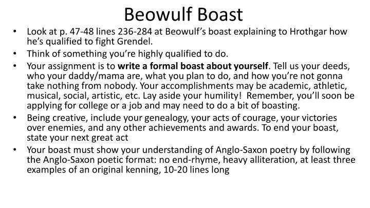 PPT Beowulf Boast PowerPoint Presentation ID 2820276