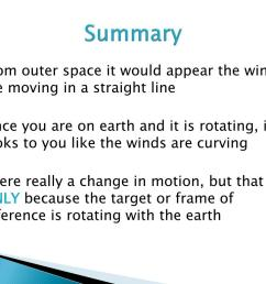 summary from outer space it would appear the winds are moving in a straight line since you are on earth and it is rotating it looks to you like the  [ 1024 x 768 Pixel ]