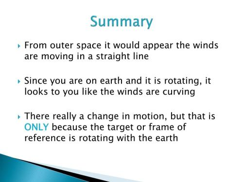 small resolution of summary from outer space it would appear the winds are moving in a straight line since you are on earth and it is rotating it looks to you like the