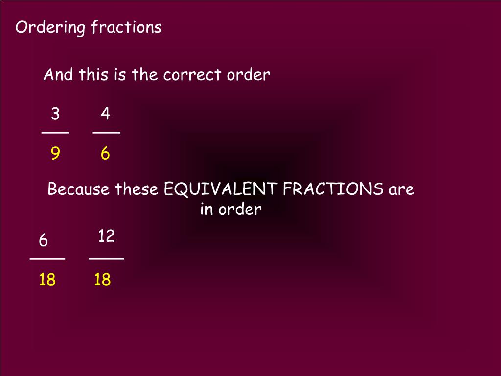 Ppt Ordering Fractions Powerpoint Presentation Free Download