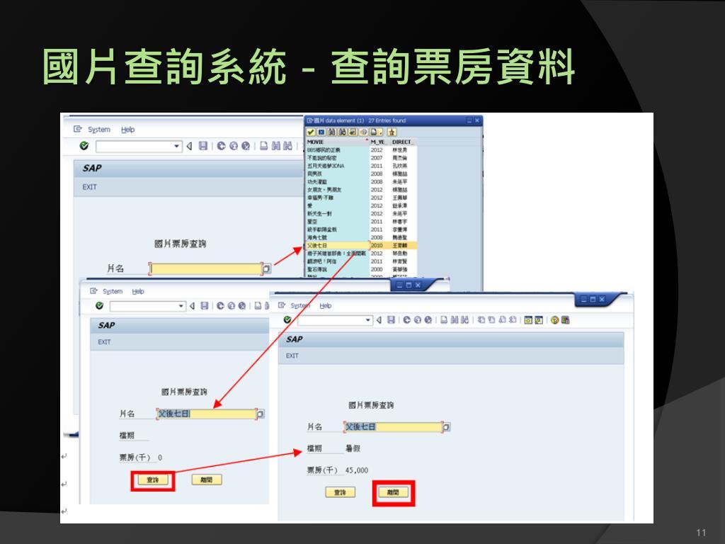 PPT - ABAP 程式設計期末 報告 國片查詢系統 PowerPoint Presentation - ID:2931796