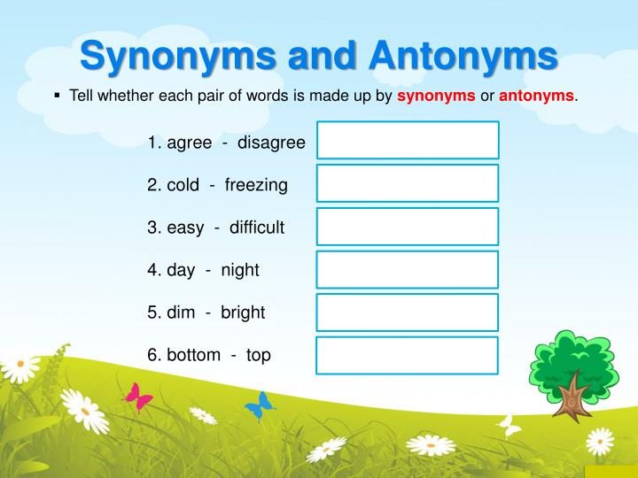 PPT - Synonyms and Antonyms PowerPoint Presentation - ID:2937263