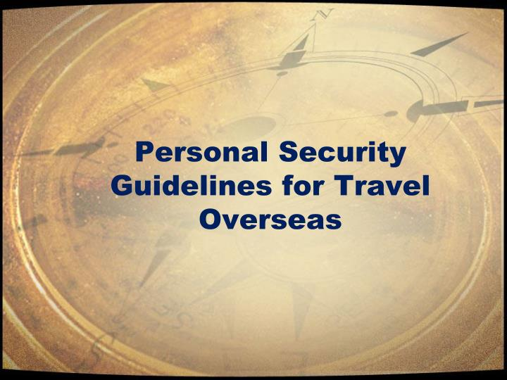 Personal Security While Traveling