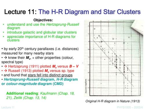 small resolution of lecture 11 the h r diagram and star clusters n