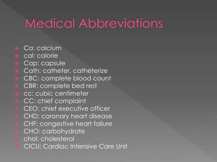 PPT  Medical Abbreviations PowerPoint Presentation  ID