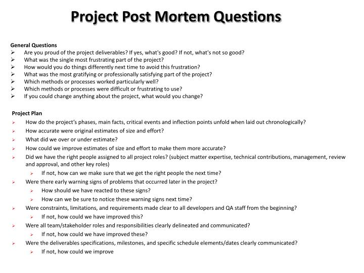 project management post mortem