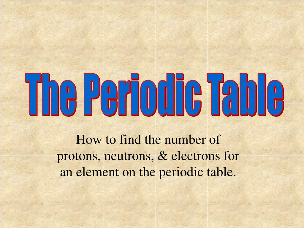 Using The Periodic Table To Determine Protons Neutrons And Electrons
