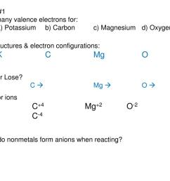 how many valence electrons for a potassium b carbon c magnesium d oxygen 2 dot structures electron configurations k c mg o 3 gain or lose  [ 1024 x 768 Pixel ]