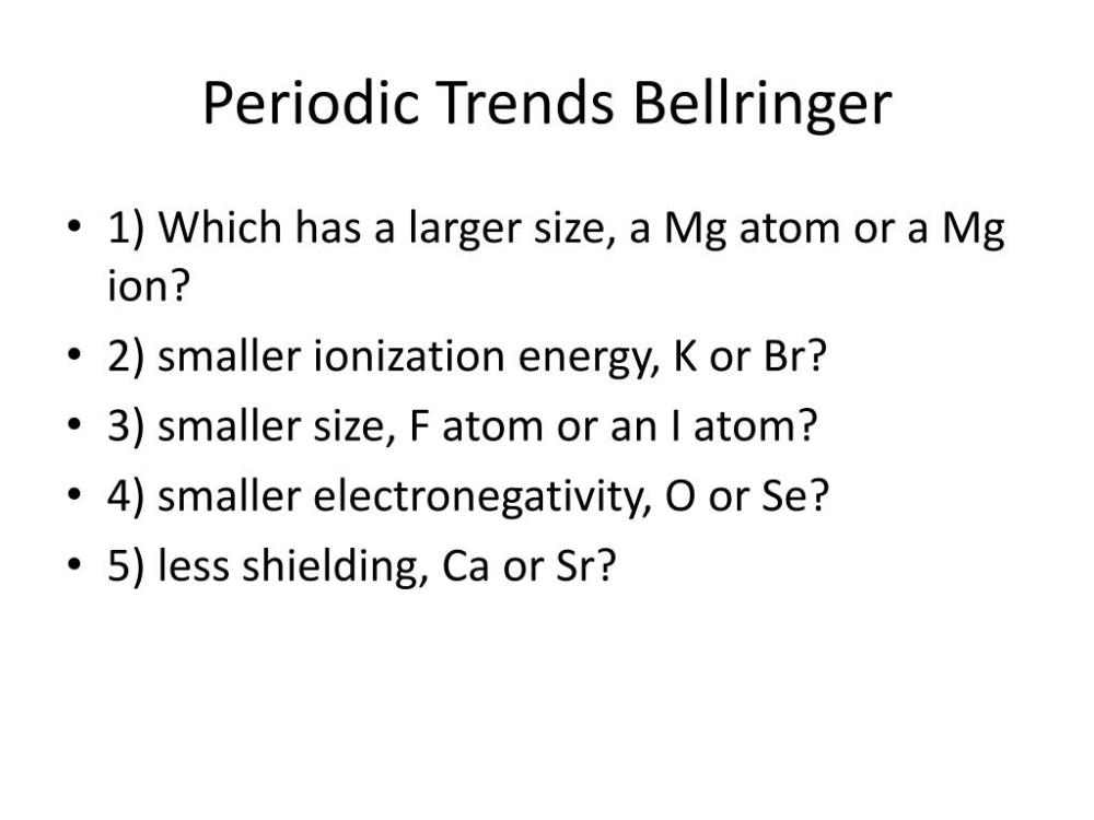 medium resolution of periodic trends bellringer powerpoint ppt presentation