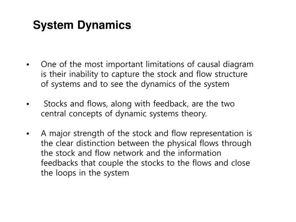 medium resolution of system dynamics one of the most important limitations of causal diagram is their inability to capture the stock and flow structure of systems and to see