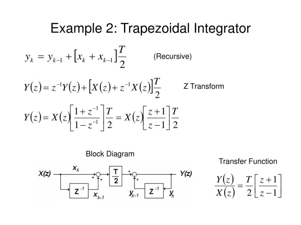 medium resolution of example 2 trapezoidal integrator recursive z transform block diagram transfer function