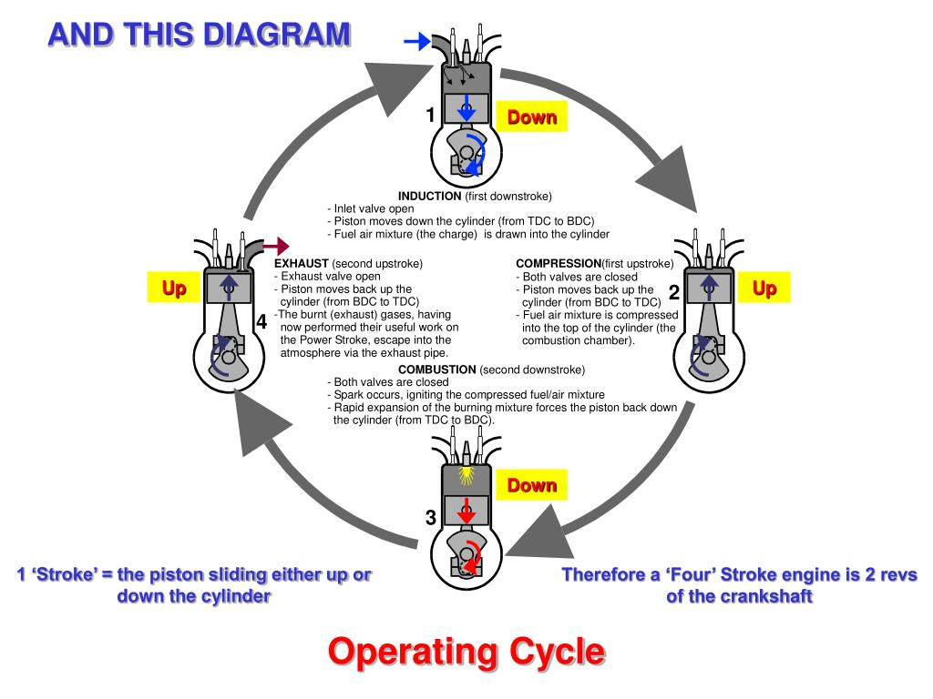 hight resolution of and this diagram down up up down 1 stroke the piston sliding either up or down the cylinder therefore a four stroke engine is 2 revs of the crankshaft