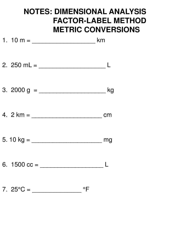 Dimensionalysis Factor Label Method Worksheet