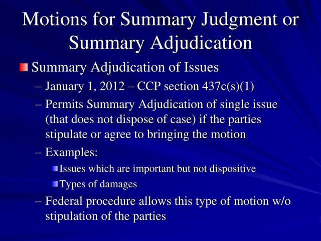 PPT - Summary Judgment and Summary Adjudication PowerPoint