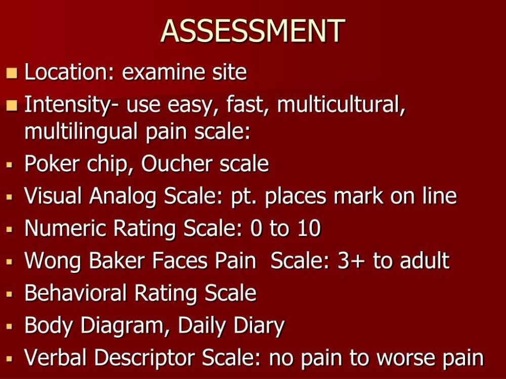 medium resolution of assessment location examine site intensity use easy fast multicultural multilingual pain scale poker chip oucher scale visual analog scale