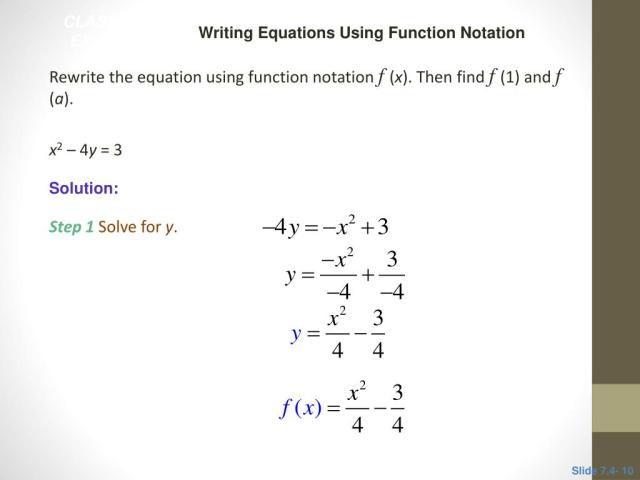 PPT - 15.15 Function Notation and Linear Functions PowerPoint